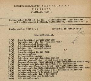 Inhaltsübersicht zum Rundschreiben 1/1949 des Landesverkehrsverbandes Westfalen<sup><figcaption id=