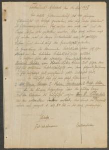 Scan des Protokolls der ersten Beschäftigtenversammlung nach dem Zweiten Weltkrieg