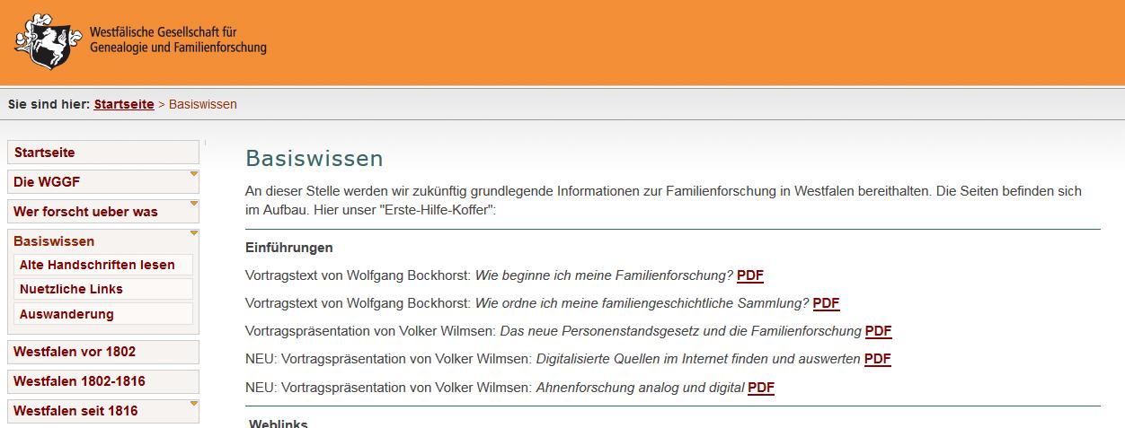 """Screenshot der Internetseiten der WGGF - hier """"Basiswissen"""""""