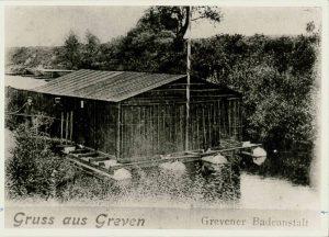 Flussbadeanstalt in Greven, Anfang 20. Jahrhundert (StaG F1-900).