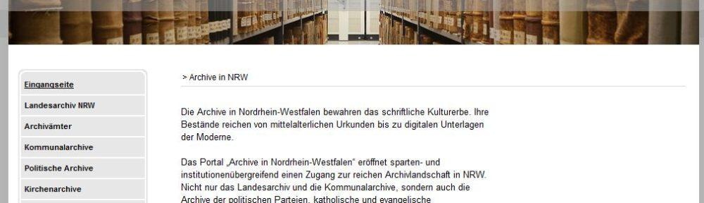 """Import von Beständeübersichten und Findbüchern im Portal """"Archive in NRW"""" nur noch bis einschließlich 19. Dezember möglich (Info des LAV NRW)"""