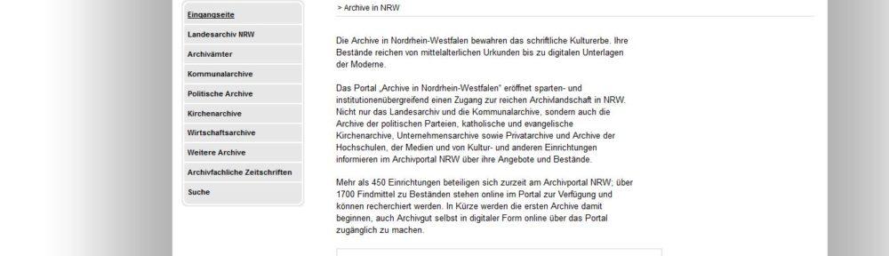 Relaunch des Portals archive.nrw