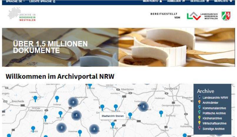 Screenshot der neuen Startseite des Archivportals