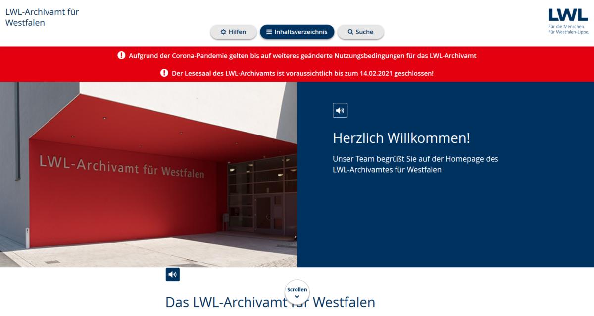 Homepage des LWL-Archivamtes runderneuert und (fast) barrierefrei