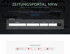 Screenshot der Startseite des Zeitungsportals NRW mit Suchfeldern und Findpunkten