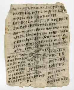 Schmähbrief (Nr. 8) mit Zeichnung, der in Lemgo 1642 öffentlich aufgehangen wurde. Dieses Flugblatt ist als Beweisstück im Original der Prozessakte erhalten (Stadtarchiv Lemgo, A 4694)