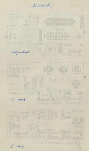 """Grundrisse des Privat-Kinderheimes """"Germania""""  auf Borkum, angefertigt durch die Praktikantin, 1960 (Stadtarchiv Lemgo T 7/461)"""