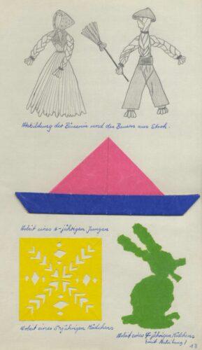 Beispiele für Bastelarbeiten der Kinder aus einem Praktikumsbericht, 1960 (Stadtarchiv Lemgo T 7/461)
